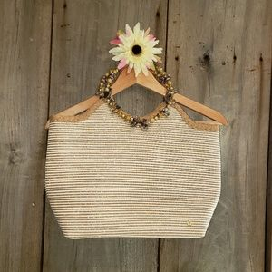 Cappelli straw bag with exotic beaded handle